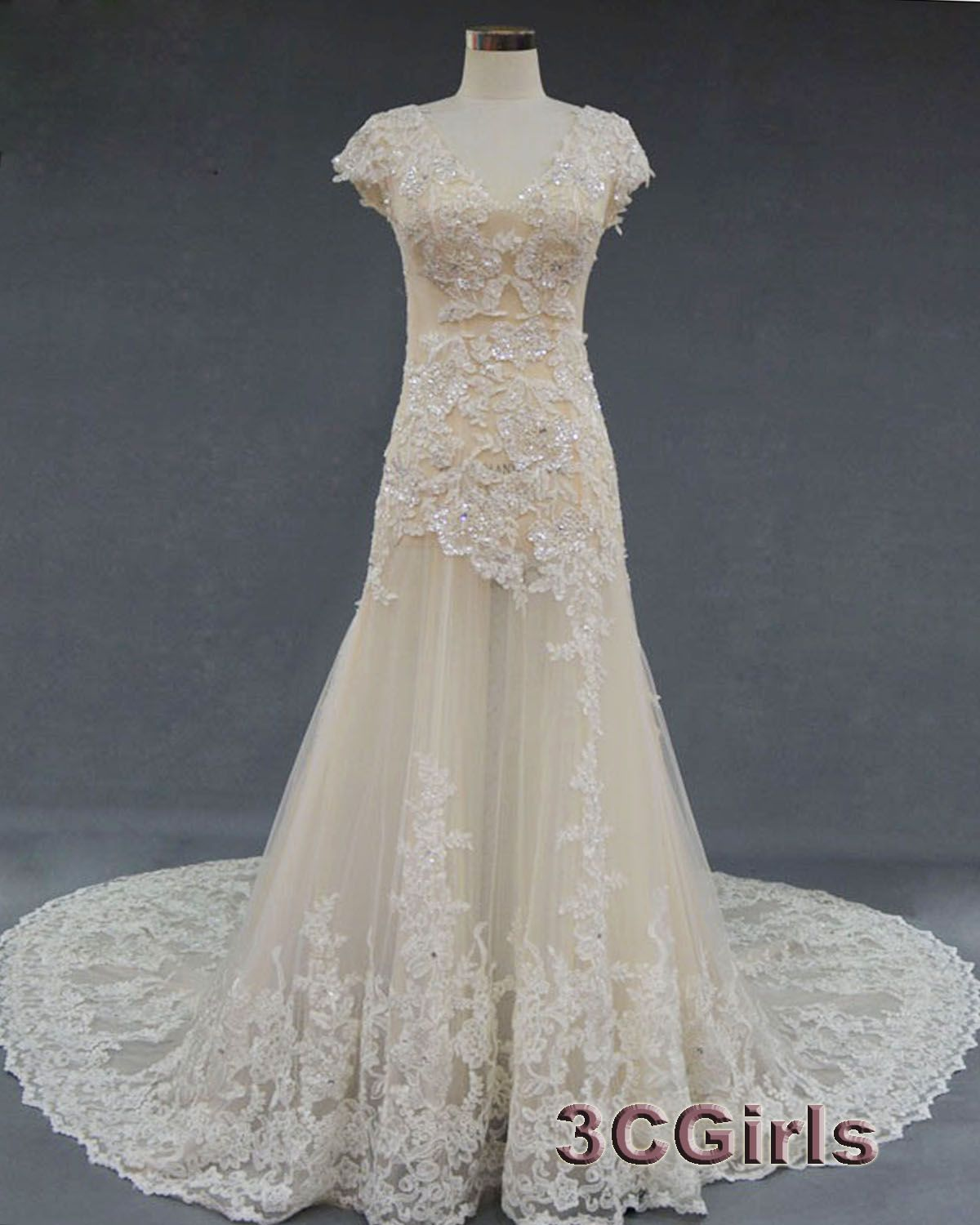 Prom luxury light champagne lace vneck long prom dress for