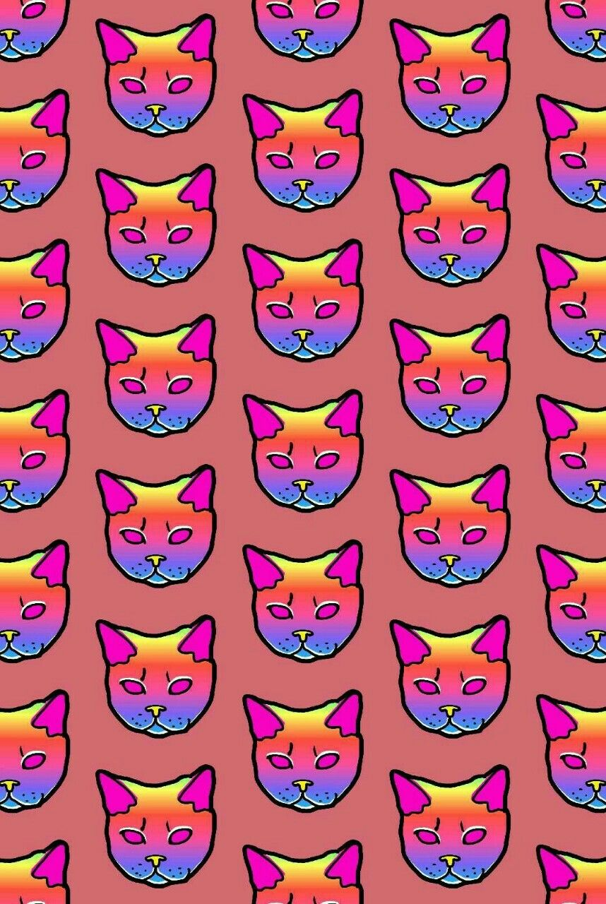 Pin By Britt On Psychedelic Cat Wallpaper Iphone 6 Wallpaper Pink Cat