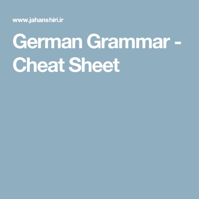 German Grammar - Cheat Sheet