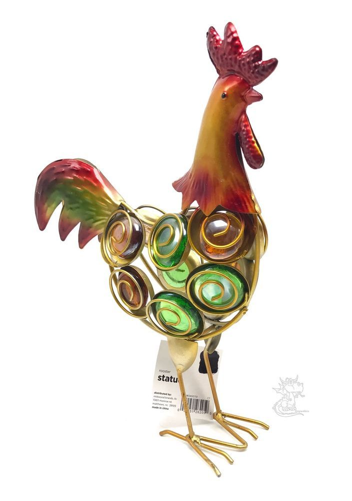 Details About Rooster Garden Decor Statue Metal Glass Fade Resistant Lawn  Yard Ornament
