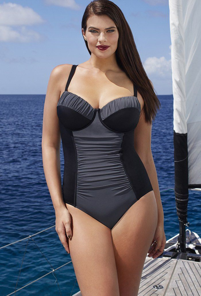 331793a4e67cd Tropiculture Charcoal Control Underwire Swimsuit