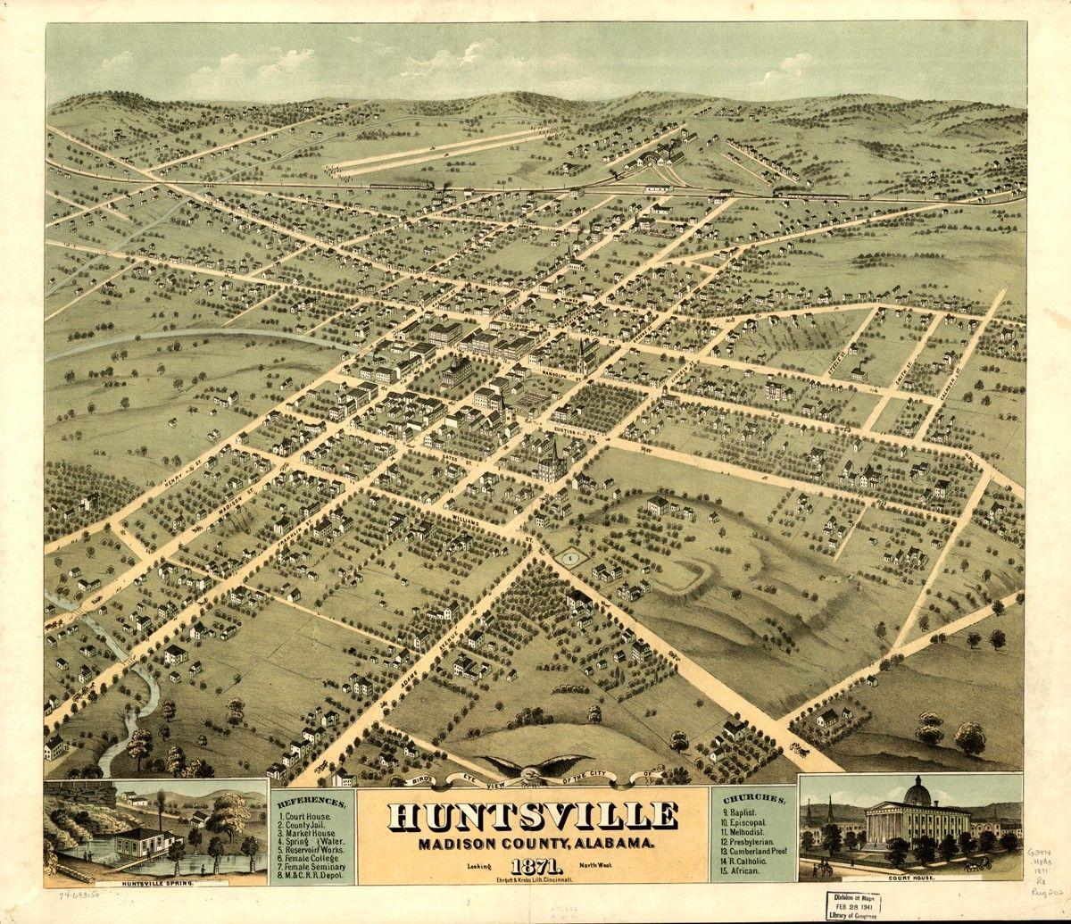 Vintage Map Huntsville Alabama 1871 3000