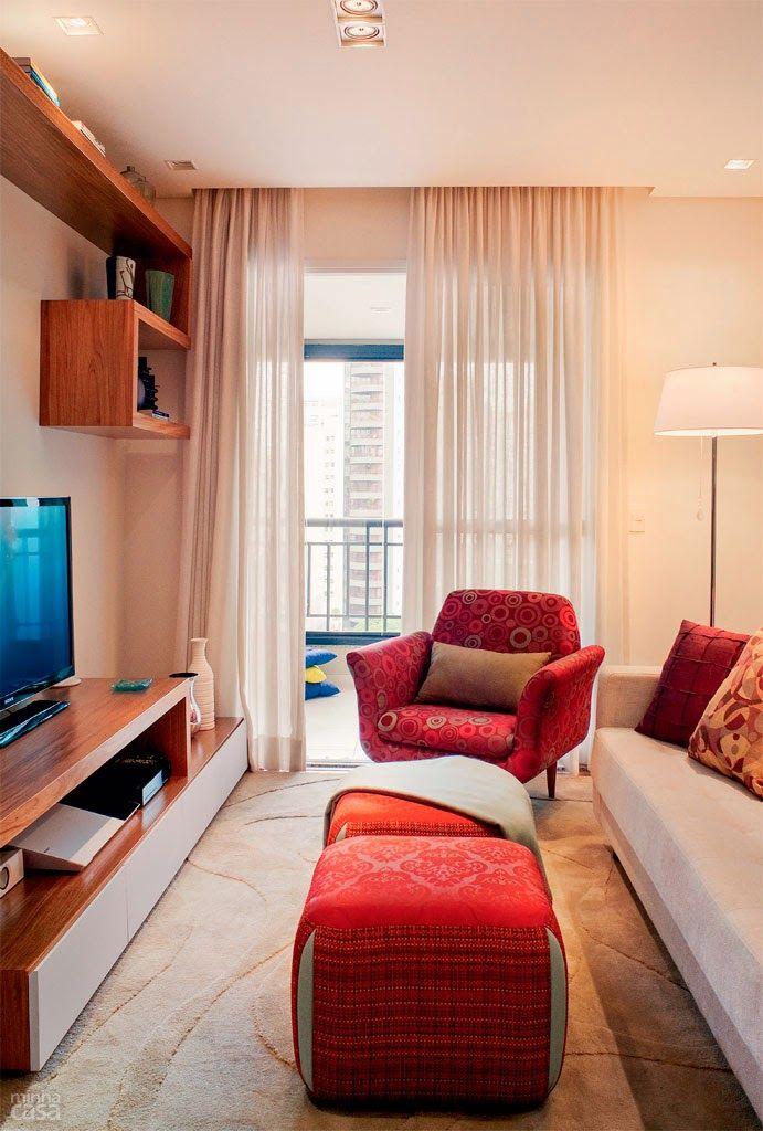 Apartamento De 69m Bem Planejado! Small Living RoomsNarrow RoomsLiving Room  DesignsLiving SpacesDecorating IdeasDecor ...