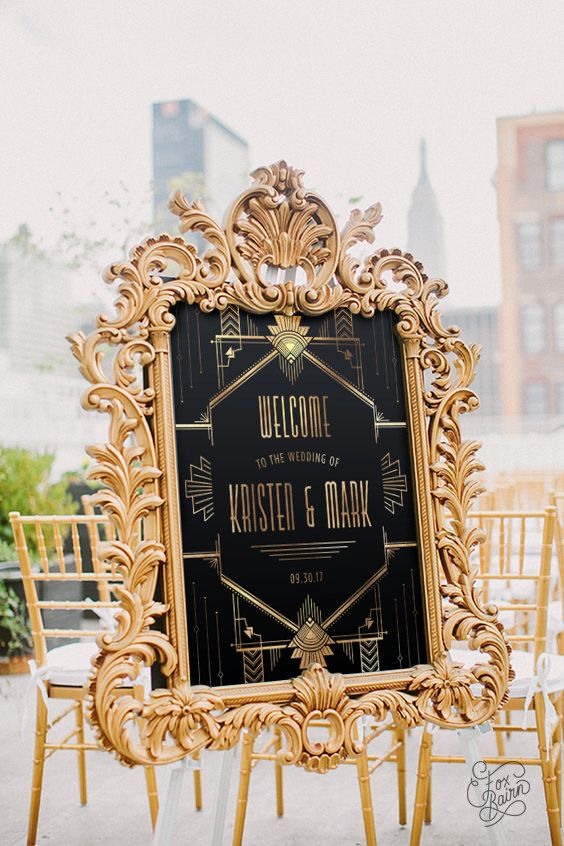 Gatsby wedding welcome sign, gold and black 1920\'s art deco welcome ...