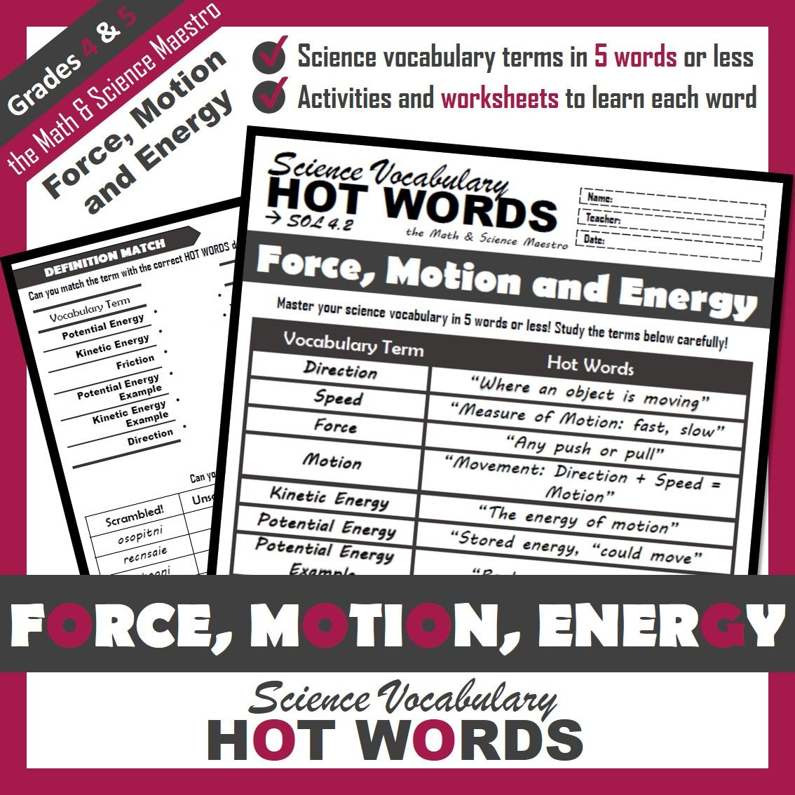 4th Grade Science Hot Words Force Motion And Energy