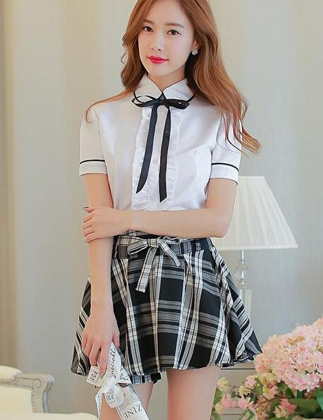 75e0e7cd6e66 Korean students shirt + plaid skirt two-piece outfit from Fashion ...
