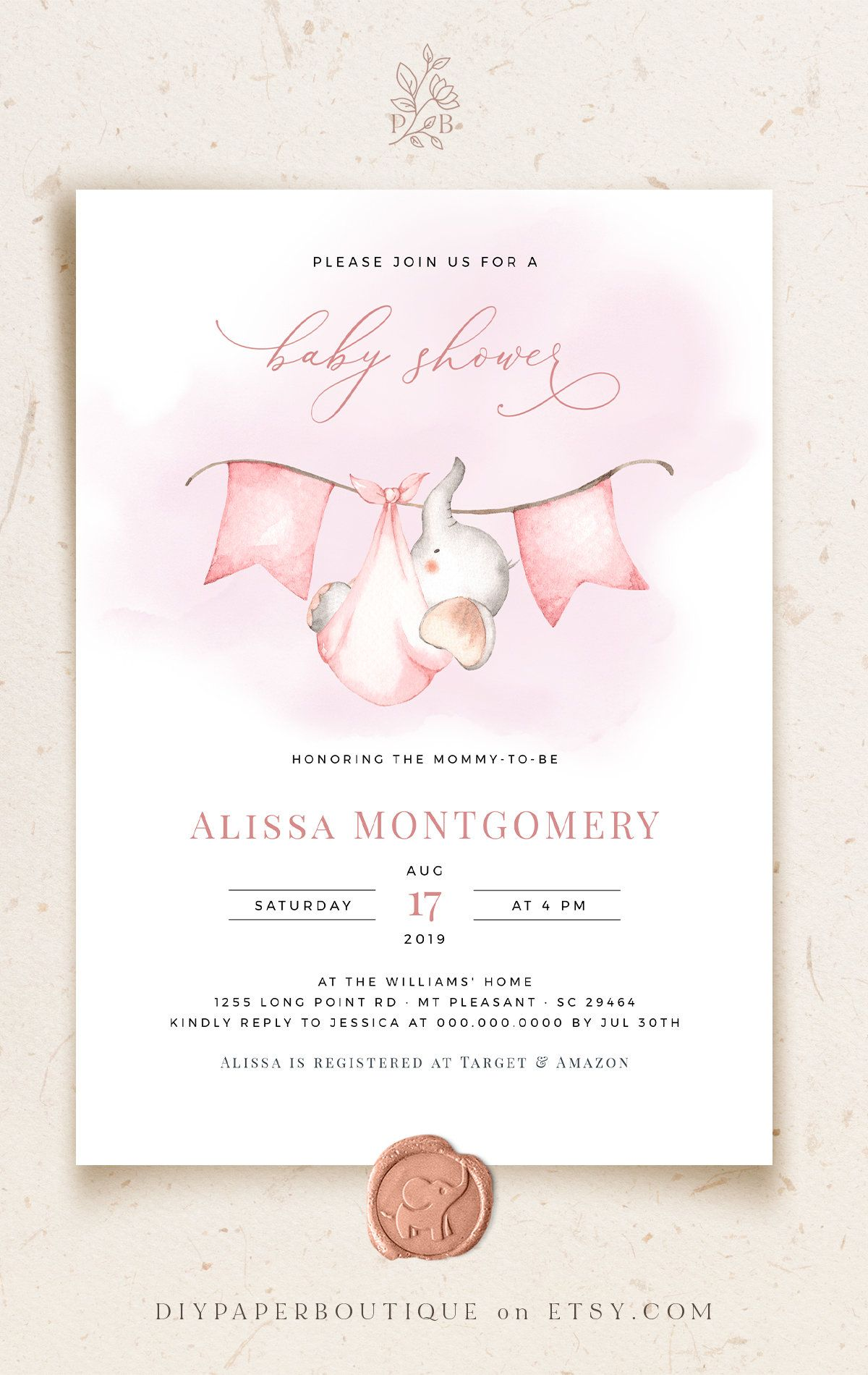 Ava Pink Baby Shower Invitation Template Watercolor Baby Etsy Baby Shower Invitation Templates Baby Shower Invites For Girl Pink Baby Shower Invitations