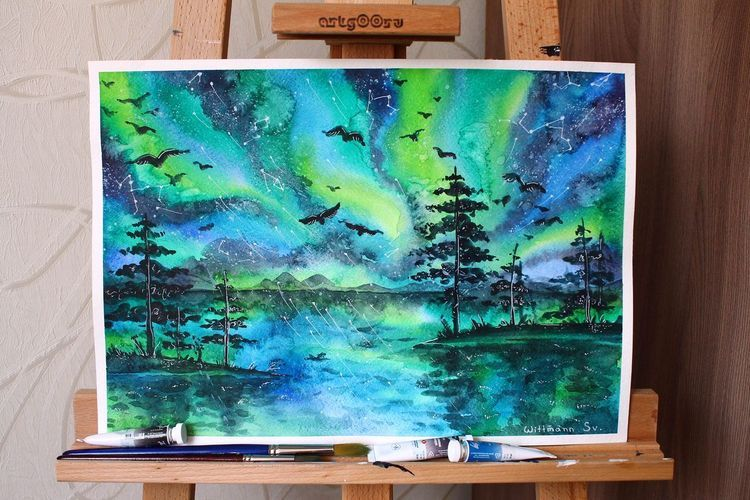 Orignal 30x42 Cm Northern Lights Watercolour Painting Aquarelle