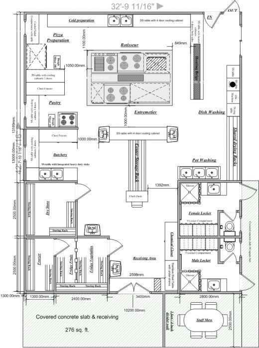 Blueprints of restaurant kitchen designs in