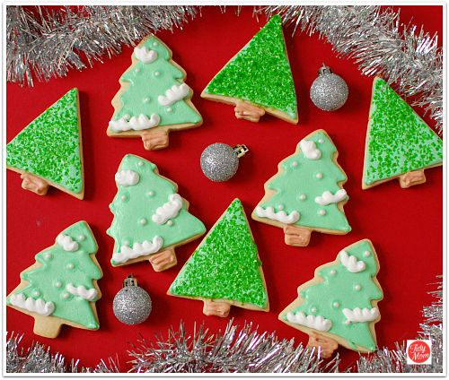 Christmas Tree Decorated Cookies: #Christmas Tree Cut Out Cookies With Royal Icing At