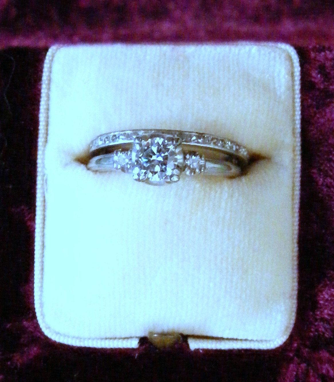 1950 Art Deco style wedding ring set. $1,650.00, via Etsy.