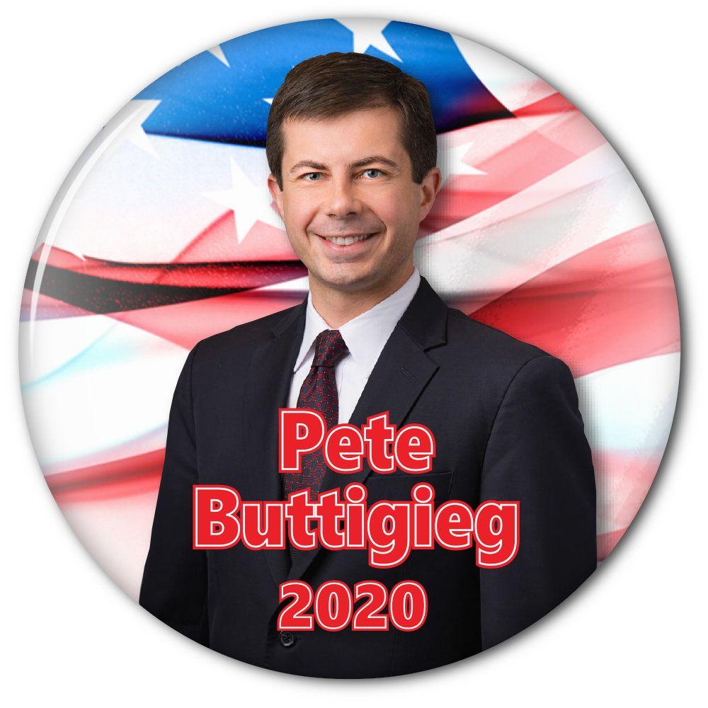 """PETE BUTTIGIEG (B) 3"""" CAMPAIGN Pin Back Button for"""
