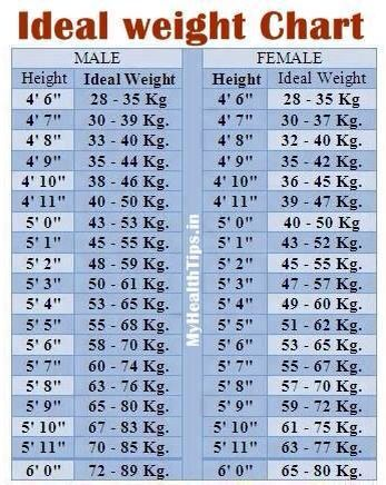 Ideal Weight Chart  Helpful Tips    Weight Charts