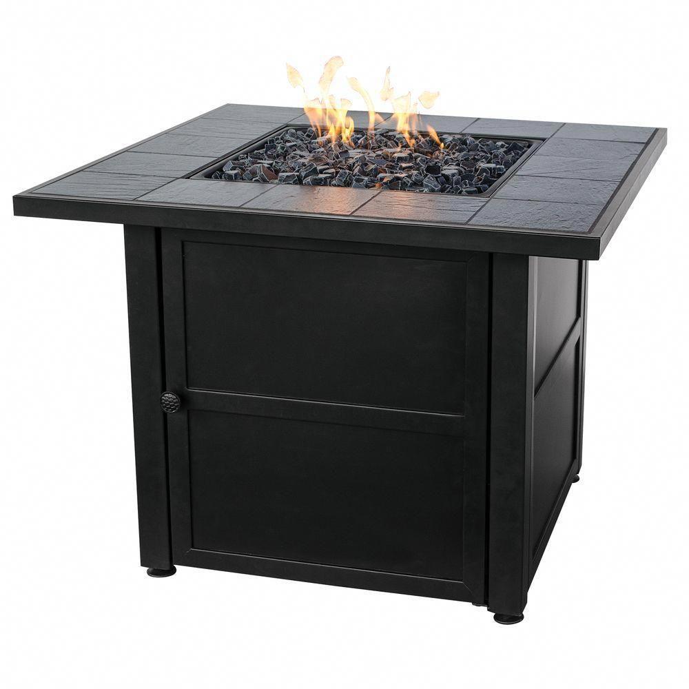 Uniflame 31 5 In W X 31 5 In D Black Slate Ceramic Tile