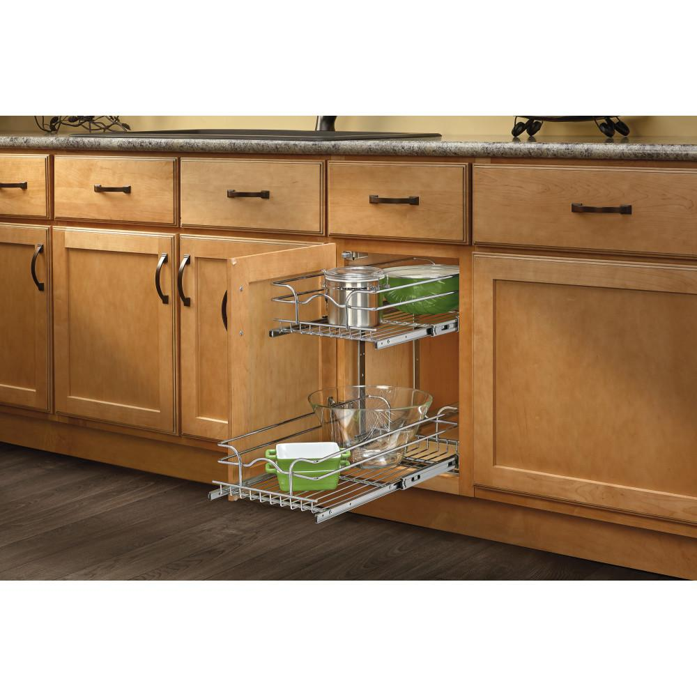 Rev A Shelf 19 In H X 11 75 In W X 18 In D Base Cabinet Pull Out Chrome 2 Tier Wire Basket 5wb2 1218 Cr The Home Depot Pull Out Drawers Rev A Shelf Base Cabinets