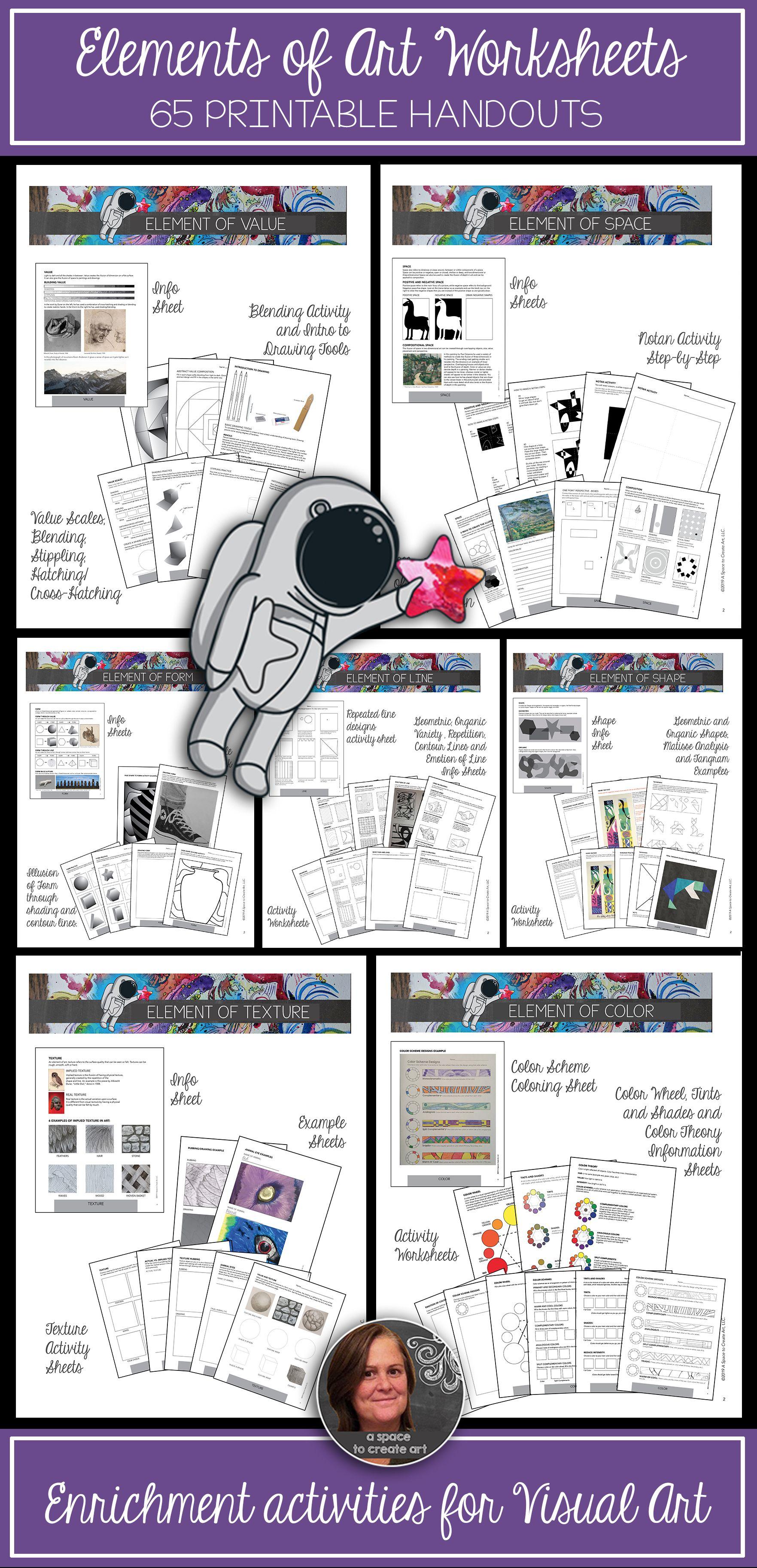 Elements Of Art Worksheets Bundle 80 Sheets