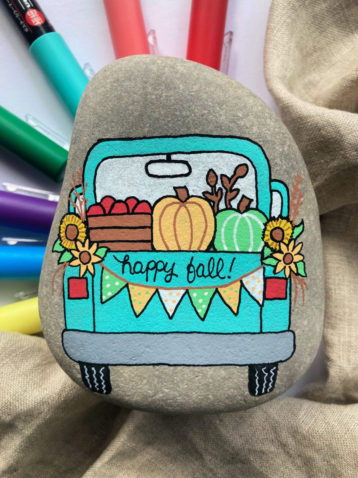 Photo of Fall Truck Painted Rock Tutorial • Color Made Happy