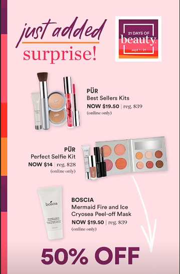 Ulta 21 Days 50 Off Pur Kits And Boscia Mask Beauty Steals Added For 9 10 Muaonthecheap With Images Boscia Mask Boscia Ulta