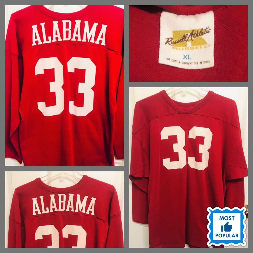 new styles b2149 55956 Vintage Russell Athletic Alabama Crimson Tide L/S Jersey ...