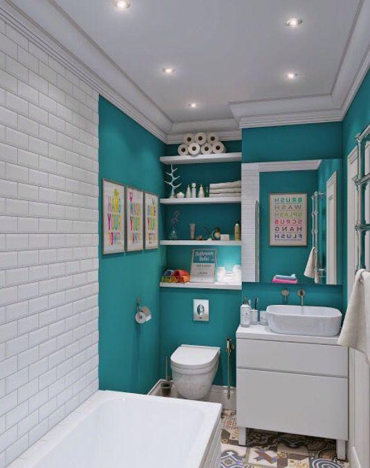 Pintura y baldosas para un cuarto de baño juvenil | Hogar ...
