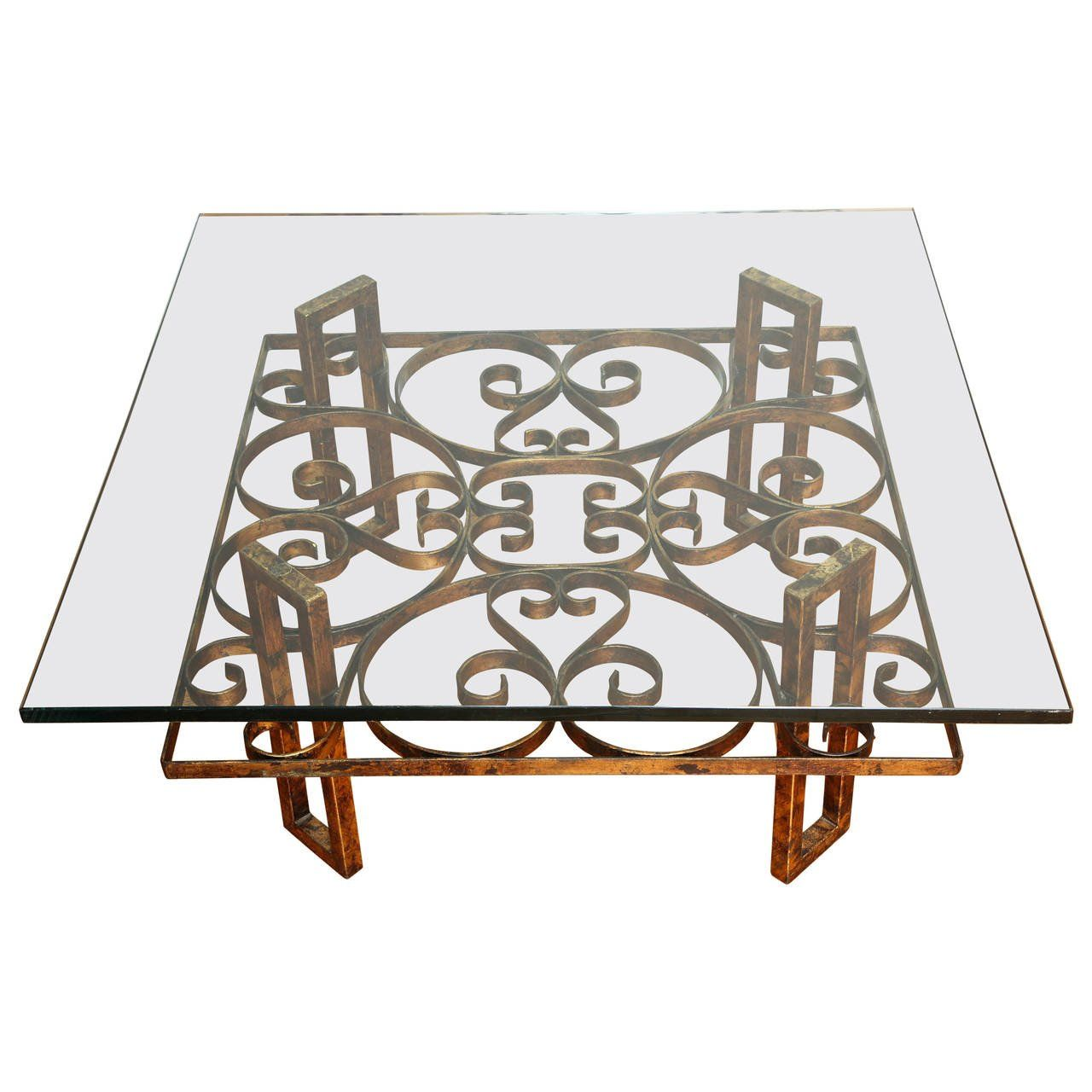 Gilded Wrought Iron Square Coffee Table With Scroll Motif Glass Top Iron Coffee Table Coffee Table Square Wrought Iron Table Legs [ 1280 x 1280 Pixel ]