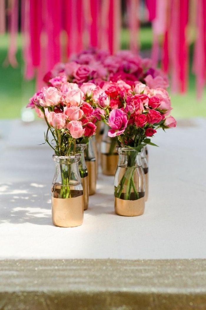 quelle décoration de table anniversaire avec fleurs roses