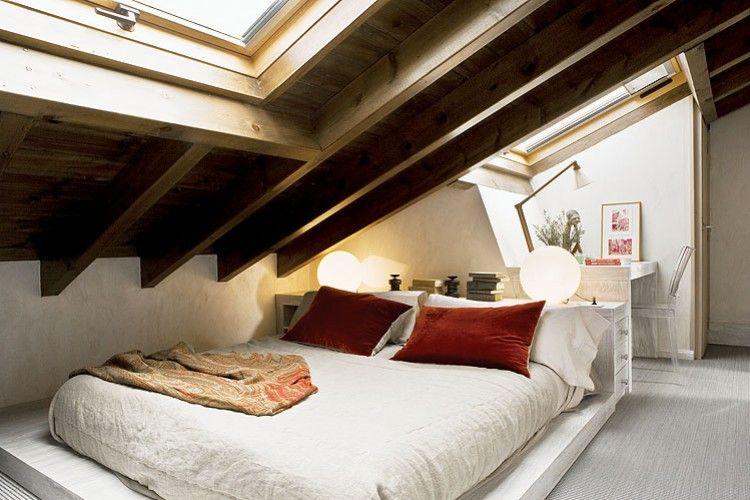 Attic bedroom and work space. | Low ceiling bedroom ...