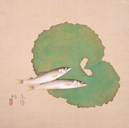 Tsuchida Bakusen 香魚 Yamane Museum 日本画 魚イラスト 魚アート