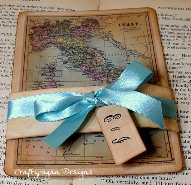 Vintage Map Wedding Invitations