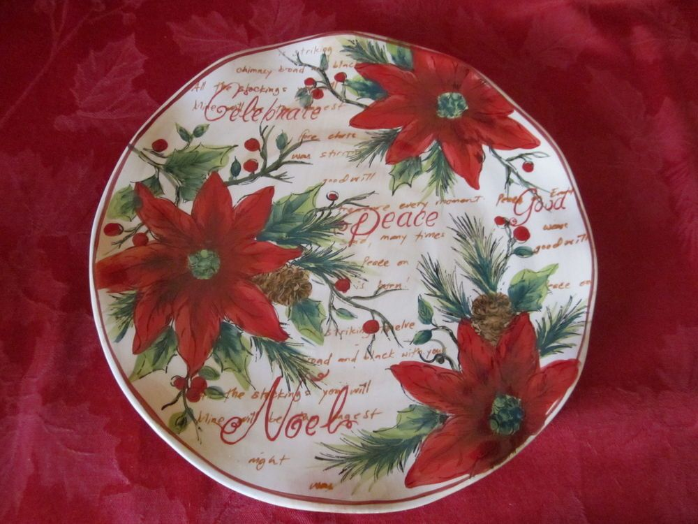 MAXCERA NOEL POINSETTIA CHRISTMAS SCRIPT PINECONE DINNER PLATES SET OF 4 NEW & Maxcera noel poinsettia christmas script pinecone dinner plates set ...