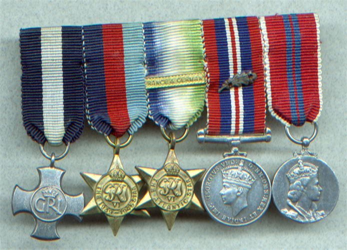 Medals WW2 Gallantry DSC miniature Group of 5  D.S.C 1939-45 star, Atlantic star bar France & Germany,War medal with MID oak-leaves,1953 ERII coronation medal attributed to Norman John Parker D.S.C MiD Royal navy DSC destruction of a U-boat off the West Coast of Scotland 21.04.45 [decoration posted] 11.09.1945 MID Dunkirk16.08.1940 MID anti-submarine operation 23.11.43