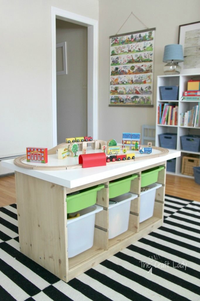 This Train Table Using The IKEA TROFAST Is A Great IKEA Toy Storage Hack.  Via The Crazy Craft Lady / Www.grillo Designs.com