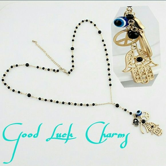 Good luck Multi element pendant necklace NEW*NEVER WORNE* Rosary gold chain necklace with black beads has adaptable length lock. Jewelry Necklaces