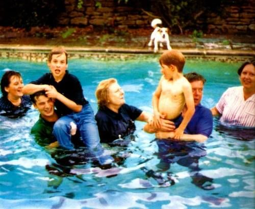 "Summer parties thrown by Diana at 'Highgrove' were fun. This ended up with a... ""3, 2, 1, everyone in the pool!"". This one happened to include ALL fully clothed Protection Officers, W&H, Nanny (Jesse Webb, far right) and Royal housekeepers."