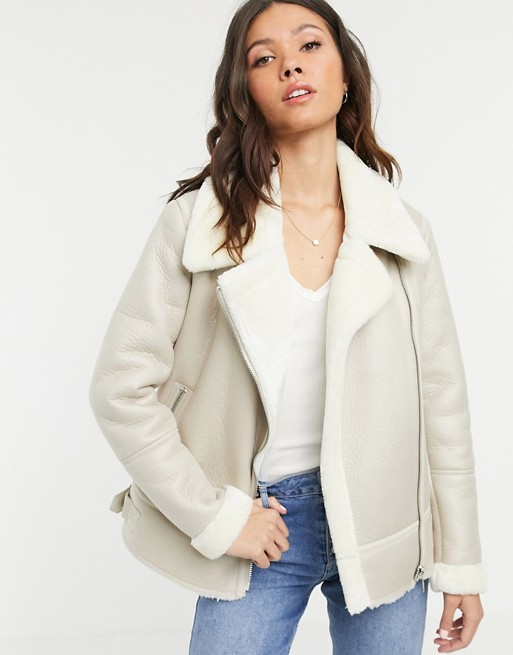 New Look aviator jacket in cream ASOS Size L Aviator