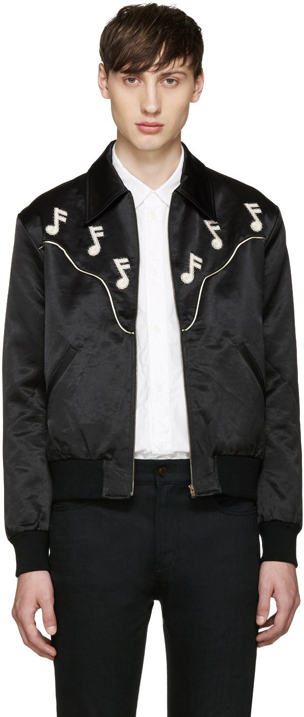 bccc7e79e SAINT LAURENT Black Music Note Western Jacket. #saintlaurent #cloth ...