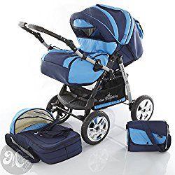 Milk Rock Baby Star Cruiser 2 in 1 Pram Combi Stroller & Pushchair (rain cover, mosquito net, 30 colors) 24 Navy Blue