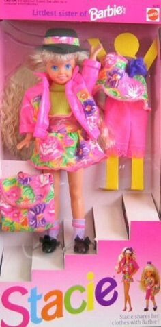 Barbies little sister stacie 90s doll= This was (and possibly still is) my favorite doll of all time. One of her arms broke at some point and I don't even remember being sad or thinking about it much, it just made her that more special to be different from the others.