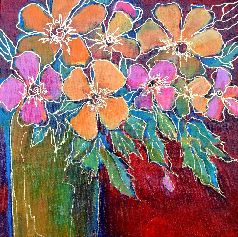 Original Modern Art Abstract Flower StillLife Painting on