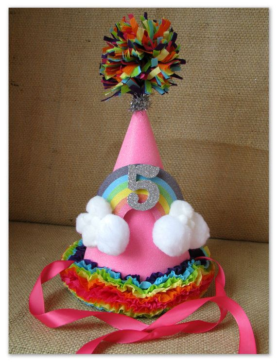 Vintage Inspired Rainbow Birthday Party Hat By Crepeconfectionary 3000