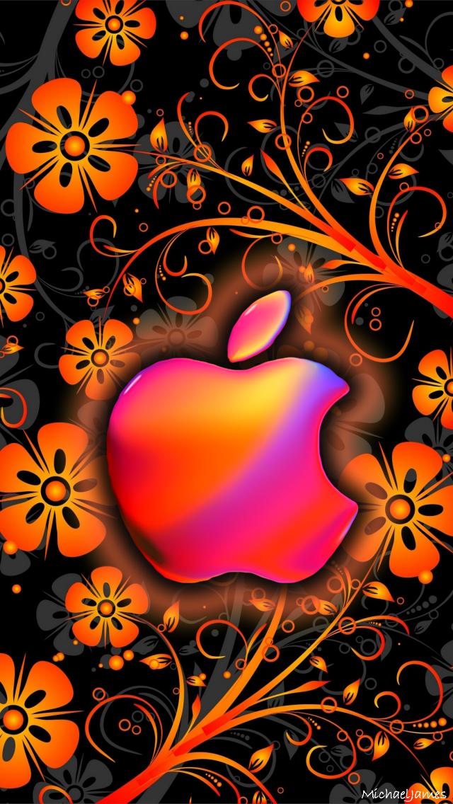 Download Orange Funky Flowers 640 X 1136 Wallpapers