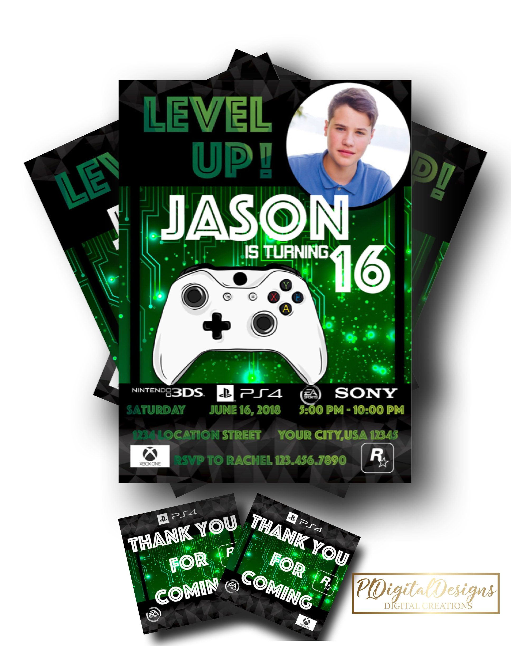 Gaming Invitation Gaming Invite Video Game Invitation Game Themed Party Invite Print Video Game Party Invitation Party Invite Template Party Invitations