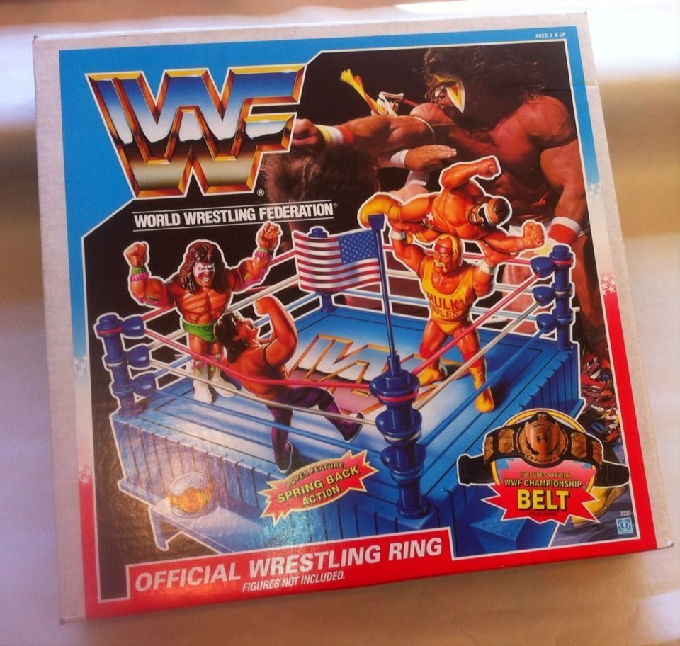 Hasbro Wwf Wrestling Ring Wrestmania Wwe 8 Figures And Box Wwf Hasbro Wwf Retro Toys