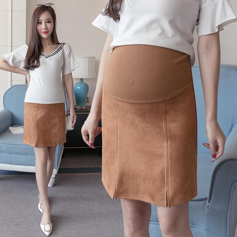 87191de410901 2053# Suede Maternity Skirts 2017 Autumn Winter Korean Fashion Skirts  Clothes for Pregnant Women Elastic Waist Pregnancy Skirts #style #styles  #stylish ...