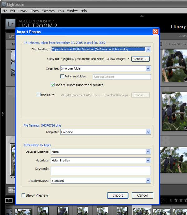 Lightroom can't import photos