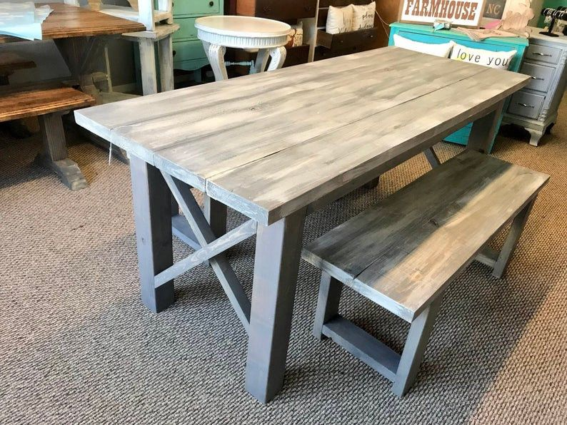 Narrow Rustic Farmhouse Table with X Accent and Benches