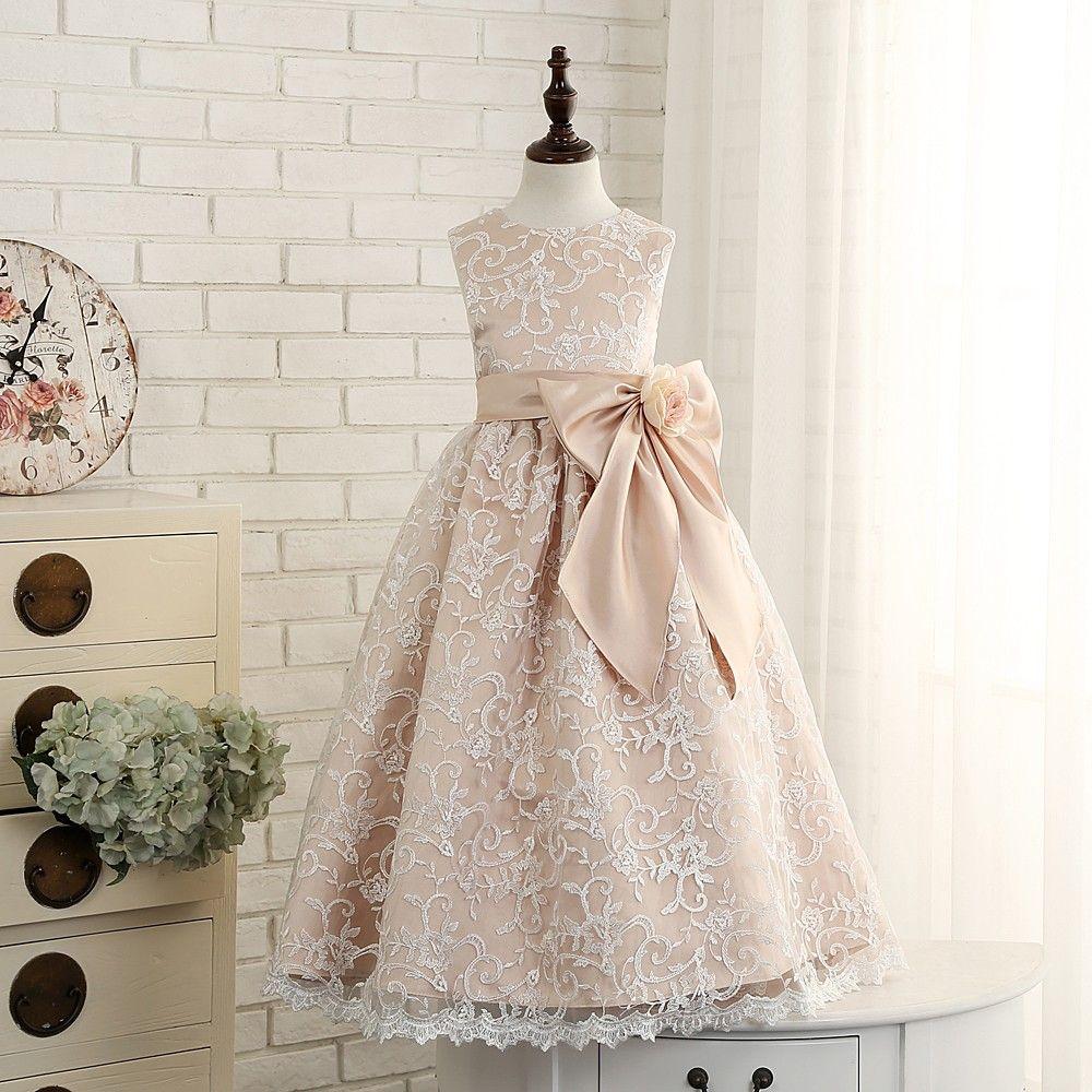 23790299aca Vintage champagne Taffeta Flower Girls Dresses Dancing Lace Party Dress  Birthday Custom Girls Dress With - Thumbnail 3