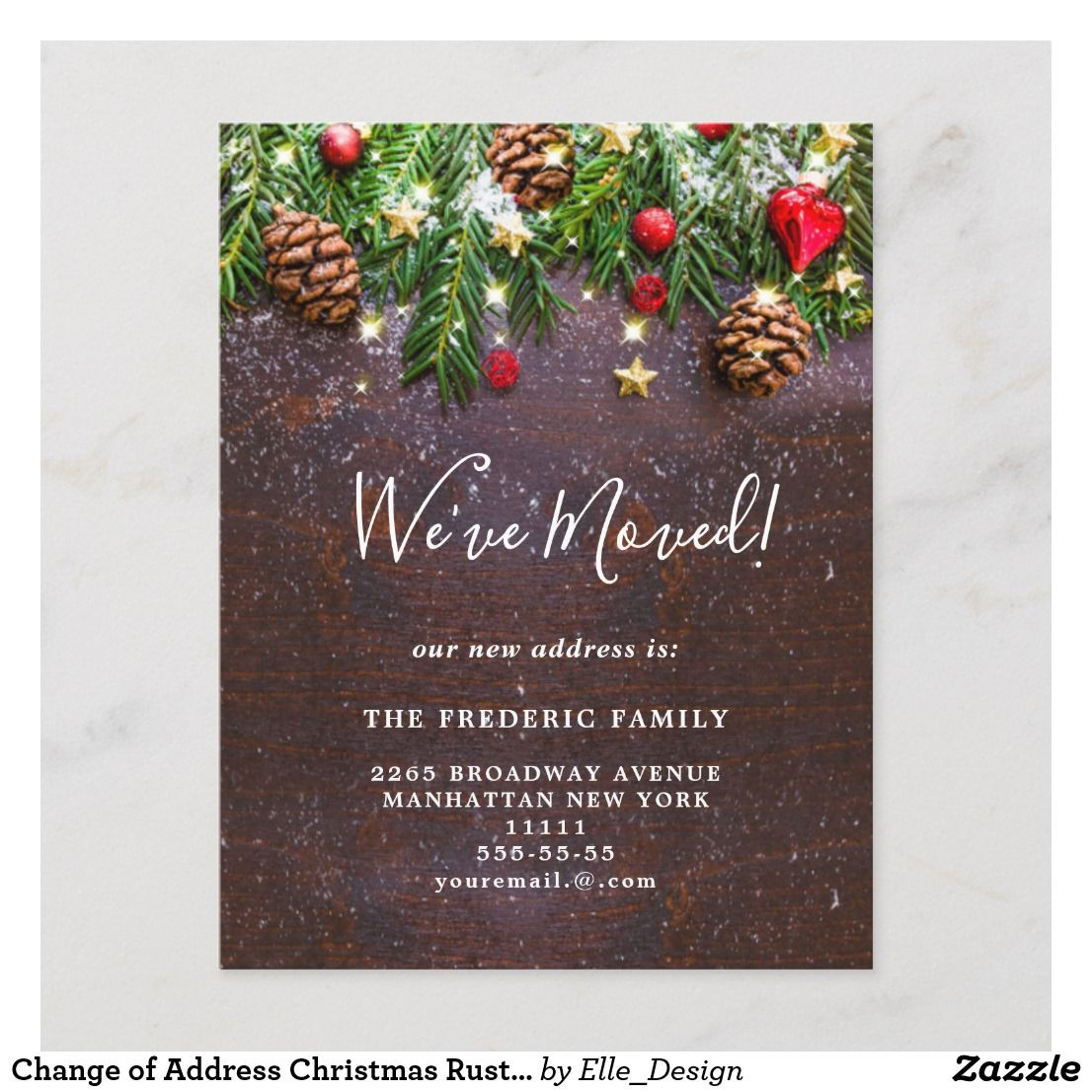 Change of Address Christmas Rustic Holidays Announcement ...