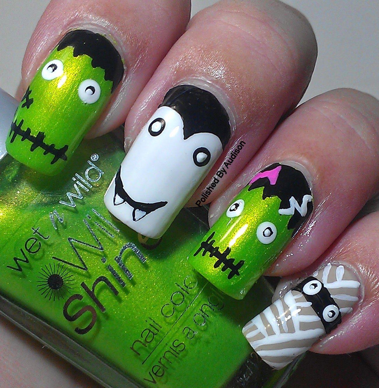 13 days of Halloween | Gel nail designs, Halloween monster ...