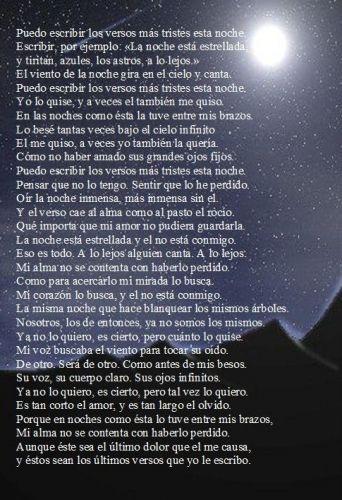 Pablo Neruda Puedo Escribir Los Versos Mas Tristes Esta Noche Tonight I Can Write The Saddest Lines Puedo Escribir Los Versos Versos Poemas